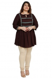 Women's Rayon Plus size short Dark brown kurtis tops with Long sleeve