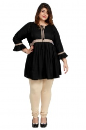 Women's Rayon Plus size short Black kurtis tops with Long sleeve