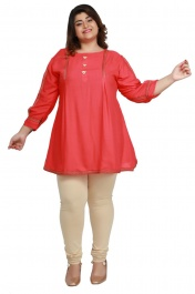 Women's Rayon Plus size short Light Pink kurtis tops with Long sleeve
