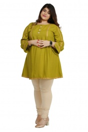Women's Rayon Plus size short Olive Green  kurtis tops with Long sleeve