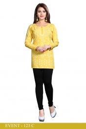 Ladies American Crepe Printed Yellow Lucknowy style Short kurtis with Long sleeve